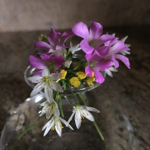Bouque of small white lily, yellow aster, and pink oxalis