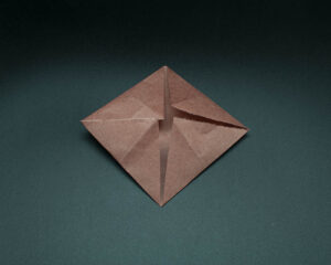 Fold the final corner to the center.