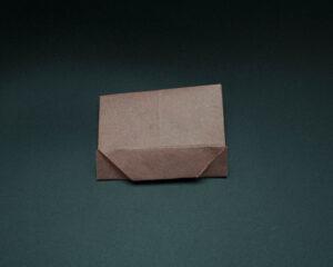 Fold bottom up toward middle crease.